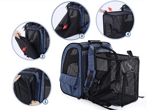 La mochila transportadora Pecute Transportin se expande hacia atrás , logrando un 90% de mayor amplitud. Por eso la recomendamos hasta para un caniche mediano.