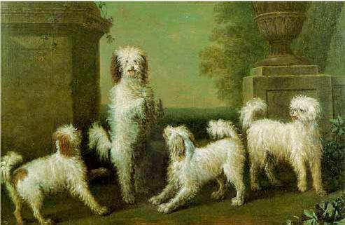"""""""Los perros bailarines"""" de  John Wootton (1682-1764) Óleo sobre lienzo. pintura con 3 Caniche arlequín de color Marrón y Blanco - 1759. Inglaterra."""